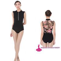 Wholesale women spandex unitards - Gymnastics Leotard Adult 2018 New Design Zipper Net Dance Costume High Quality Black Ballet Dancing Wear Gymnastics Leotard