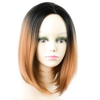 Wholesale bob red ombre wigs for sale - Ombre Red Wigs Synthetic Short Bob Straight Wigs for Women Kanekalon Hairstyle Wigs Heat Resistant SASSY GIRL