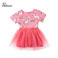 шифон платье для малышей оптовых-2018  New Newborn Toddler Infant Baby Kids Girls Princess Unicorn Tutu Tulle Dress Party Pageant Chiffon Clothes 0-24M
