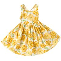 Wholesale Western Style Cotton Dresses - Girls Summer Floral Dress Halter Backless Orange Dress Ruffles Princess Party Dresses Western Fashion Children Dress B11