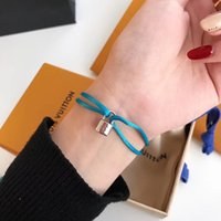 Wholesale ps sales - Hot sale Brand name Women and man Handmade Rope with silver pad lock Bracelet Titanium Stainless Steel in many colors rope jewelry gift PS