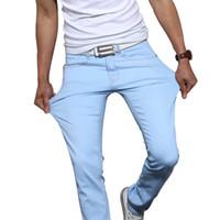 ingrosso jeans marroni marroni per gli uomini-Jeans skinny stretch da uomo in cotone di alta qualità 2018 pantaloni di marca di moda cielo blu bianco nero blu marrone pantaloni kaki da 28 a 38 Y1892602