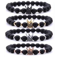 ingrosso pietre di colore nero per gioielli-4 colori nero 8mm perline Bracciali in pietra naturale Healing Balance Energy Bracciale corona per uomo donna Stretch Yoga gioielli regalo di compleanno H802F