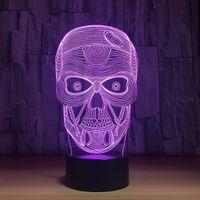 Wholesale Dropshipping Wedding - 2018 SKull 3D Optical Illusion Lamp Night Light DC 5V USB Charging AA Battery Wholesale Dropshipping Free Shipping