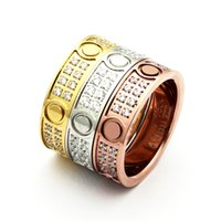 Wholesale Titanium Wedding Rings For Couple - Fashion jewerly 316L Titanium Steel 18K gold plated Gold screw love man Ring For Women wedding Rings Rose Gold Fine jewelry