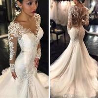 vestidos de novia sirena pequeña al por mayor-2019 Nueva Gorgeous Lace Mermaid Dresses Dubai estilo árabe africano Petite mangas largas cola de pescado por encargo vestidos de novia con botones
