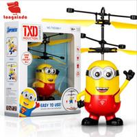 kinder elektrische kugel großhandel-RC Hubschrauber Drone Kinder Spielzeug Flying Ball Aircraft Led Blinklicht Up Toy Induction Electric Sensor für Kinder