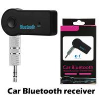 cajas receptoras al por mayor-Universal 3.5 mm Bluetooth Car Kit A2DP Transmisor inalámbrico de FM AUX Audio Adaptador de receptor de manos libres con micrófono para teléfono MP3 Caja al por menor