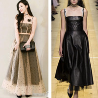 Wholesale black strapless leather dress - High Quality Luxury Brand Pleather Runway Dress 2018 Autumn PU Leather Strapless Black Maxi Gowns Party Evening Long Robe