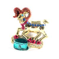 cabra de resina venda por atacado-fábrica de ímãs de geladeira de resina vender diretamente design de cabra dourada