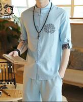 bordados vestidos de linho chinês venda por atacado-Terno de linho estilo chinês cinco pontos de manga camisa retro fivela de placa bordada vestido chinês shorts de duas peças