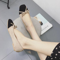 bow style wedding shoes Canada - European American style women fashion shoes flat shoes 2018 spring autumn new shoes bow square head mixed color soft comfortable women flats