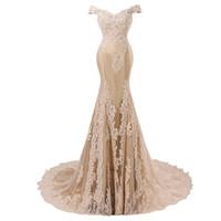 hermosa lentejuela sirena prom al por mayor-Imagen real Sexy sirena vestidos de noche 2018 fuera del hombro apliques con cuentas vestido formal vestidos de fiesta vestidos de fiesta vestido de fiesta