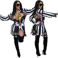 vestidos de festa europeus venda por atacado-Modelo quente europeu celeb Mulheres Sexy Rosto Padrão de Impressão Mini Vestido Entalhado Manga Bandage Assimétrica T Camisa Vestido L Partido Causal Vestido