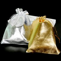 gold organza drawstring geschenk taschen großhandel-100 stücke Einstellbare Schmuckverpackung Silber Gold Kordelzug Samtbeutel Drawable Organza Pouch Weihnachten Hochzeitsgeschenk Schmuckbeutel Weihnachtsgeschenk