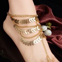 longues bracelets de cheville achat en gros de-Femelle Multi Couche Long Gland Cheville Or Couleur Alliage Métal Feuilles Anklets Mode Plage Pied Bijoux Cadeau G56L