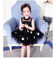 Wholesale swan tutu dress - INS Girl Princess Swan Black Dress Transparent Tutu Style Summer Petal Sleeveless Tutu Dress Kids Elegant Dress NEW Arrival