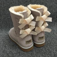 Wholesale round flat gold chain - New Fashion Ugs Women Snow Boots Bow Back Decoration Australian Style Cow Suede Leather Winter Lady Outdoor Boots Brand Ivg