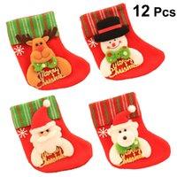 coloridas meias de natal venda por atacado-12 pcs Mini Meias de Natal Festivo Sentiu Coloridos Decoraitons Ornaments Meias para Porta Chrsitams Decoração Da Árvore
