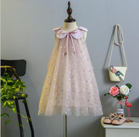 Wholesale sunflower dress girls - DHL free girl clothing 2018 girl dress Polka dots Design sunflower collar princess dress girl's elegant soft summer dress 2 colors