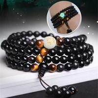 geschnitzte steinhalsketten großhandel-2018 New Natural Obsidian Carving Drachen Buddha Armband Halskette Tiger Eye Stein Perlen Armband Leuchten in dunklen Rosenkranz Armbänder