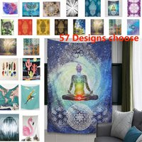 Wholesale Decorative Hang Wall - 150*130cm Bohemian Tapestries Chakra Tapestry Wall Hanging Fabric Quilt Cover Home Decorative Bedroom Rug Picnic Mat Beach Mat WX9-233