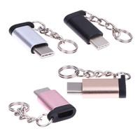 erkek dişi metal konektörler toptan satış-Metal USB 3.1 Tip-C Erkek Konnektör Mikro USB 2.0 5Pin Kadın Veri Adaptörü Dönüştürücü Tipi C Adaptörü Için tablet / telefon