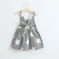 Wholesale no.1 sun - Baby girls moon Clouds sun star print dress INS children stripe Backless Princess dresses summer Kids Clothing styles C3961