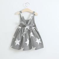Wholesale no.1 sun online - Baby girls moon Clouds sun star print dress INS children stripe Backless Princess dresses summer Kids Clothing styles C3961