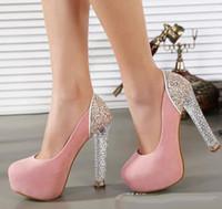 детские туфли на высоком каблуке оптовых-Яркий Сверкающий Славный Ребенок Розовое Золото Блесток Высокие Каблуки Мэри Джейн Ремешками Обувь
