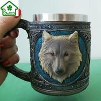 harz wolf großhandel-Cartoon Retro Style 3d Wolf König Muster Trinkbecher Harz Edelstahl Wolf Tassen Kaffee Tee Bierkrug Tiermilch Becher 450ml Geschenk