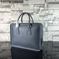 Wholesale laptop bags online - Men laptop bags real Leather single zipper cm wide Cross Grain Notebook cases Men business casual briefcases factory prices
