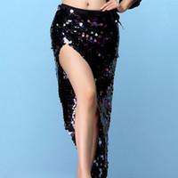 göbek dansı eşarpları toptan satış-Kadın Dans Giyim Renkli Squama Over-Etek Sequins Kalça Eşarp Belly Dance