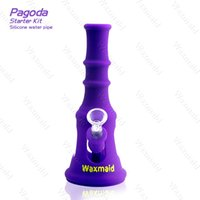Wholesale pagoda glass - Bong FDA Silicone Glass Water Pipe Waxmaid New Patent Pagoda Factory Outlet Price Oil Rig With Bowl DHL Free Shipping