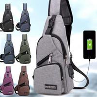 sling bag sporu toptan satış-Harici USB şarj göğüs çanta paketi seyahat erkekler ve kızlar Için crossbody çanta Sling Omuz Çantası Seyahat Spor Çanta ile USB Şarj