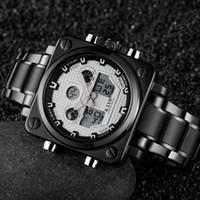 reloj deportivo blanco cuadrado al por mayor-2018 Top nuevo 6.11 Fashion Square banda de acero inoxidable LED Sport Watch hombres 30M impermeable reloj digital de pulsera envío gratis blanco
