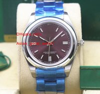 pulseira de mulheres asiáticas venda por atacado-8 estilos Senhoras Moda Assista 36 MM 114300 red dial movimento Asiático Sapphire Vidro Pulseira De Aço Inoxidável Automático Mulheres Assista Relógios