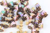 yağ cam şişe mantarları toptan satış-100 adet / grup Cork Ile 2 ml Mini Cam Şişe Amber Cam Uçucu Yağlar Şişeler İstek Şişeleri düğün Hediye