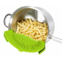 piso de ducha portátil al por mayor-Green Silicone Pasta Snap Colador Dishwasher Safe Colander Tamaño universal Fit La mayoría de las bandejas Aptas para drenar pastas Verduras Patatas
