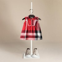 Wholesale Pink Doll Dresses - 5 color 2018 NEW arrival Hot selling summer Girls Sleeveless doll collar dress high quality cotton baby kids big plaid lace dress free ship