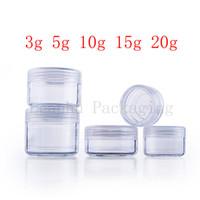 mini botellas de plástico de plástico al por mayor-vacío transparente olla pequeña botella pantalla redonda de plástico claro tarro de crema para el empaquetado cosmético, Mini recipiente de la muestra cosmética