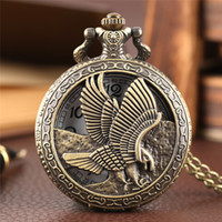 Wholesale best slimming dresses - Eagle Pocket Watch Hollow Flying Hawk Falcon Carving Slim Necklace Antique Animal Clock Best Gift for Boys Children Men New Year