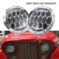 Wholesale Halo Headlamps - Pair 7inch round headlight 105w dual sealed beam with halo ring led headlight replacement,full set with H4 to H13 connectors led headlamp