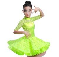 vestido de criança salsa venda por atacado-2018 meninas latinos vestidos para dança de salão de dança vestido de samba rumba spandex crianças samba cha cha tango saia padrão salsa
