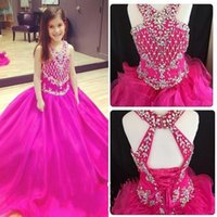 Wholesale beaded corset tops - Cute Fuchsia Ball Gown Girls Pageant Dresses 2018 Rhinestones Beaded Top Corset Lace-up Backless Ruched Girls Formal Gowns Prom Dress