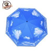 Wholesale Umbrella Uv Protection - Blue Sky White Cloud UV Protection Inverted Folding Umbrella Windproof Auto Open & Close Parasol