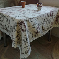 white linen table cloth Canada - HELLOYOUNG Tower Print Decorative Table Cloth Cotton Linen Lace Tablecloth Dining Table Cover For Kitchen Home Decor U0996