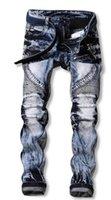 neue skinny jeans trend männer großhandel-Neue Ankunft Cowboy Fashion Trend Dünne Falten Schneeflocke Nähte Lokomotive Kausalen Hosen Jeans männer Kostenloser Versand