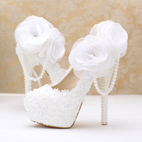 Wholesale low heel crystal bridal shoes - Pearls Crystals Wedding Shoes White Custom Made Size 10 cm 12cm 14cm High Heel Bridal Shoes Party Prom Women Pumps Free Shipping
