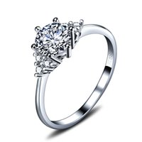 Wholesale wedding rings for women online - Real Sterling Silver Classic Design Ring With AAA CZ Diamond Engagement Jewelry For Women